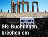 "Zeus-Tempel hinter ""Do not enter""-Schild"